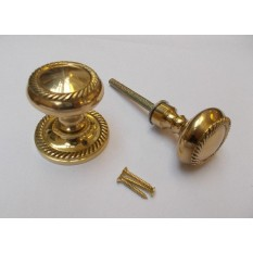 Georgian Rim Knob Polished Brass