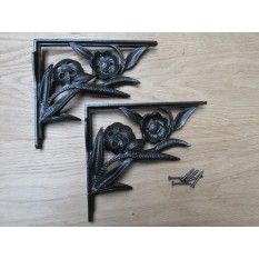 Pair Of Two Flower Shelf Brackets Antique Iron