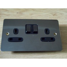 Black Nickel Switch Plate 2 gang DP Switch Socket