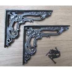 """Pair of 8"""" Antique Iron Floral Brackets"""