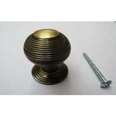 Beehive Reeded Cabinet Knob Antique Brass