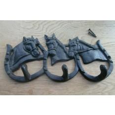 Cast Iron 3 Hook Horse Shoes Rail