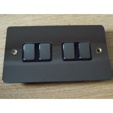 Black Nickel Switch Plate 4 gang 2 way light switch