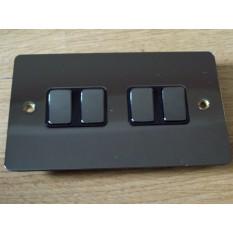 Black Nickel Switch Plate 4 gang 2 way light switch