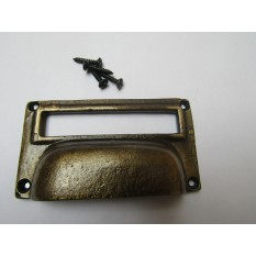 "4"" Large Card Holder Cup Handle antique brass"