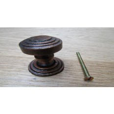 Rimmed With Back Plate Cabinet Knob Antique Copper