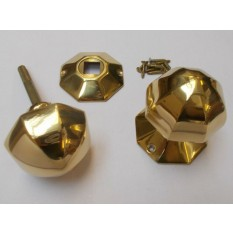 Mortice Door knob Polished Brass 55mm Octagonal