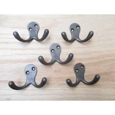 5 X ANTIQUE IRON- classic style double coat hook