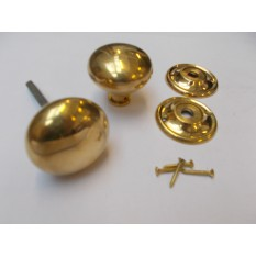 Rim Cottage Knob Set Natural Brass 65mm