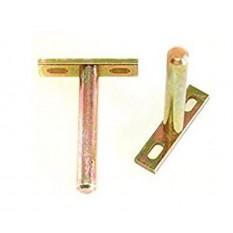 Pair of Concealed floating shelf bracket 85mm Yellow Zinc