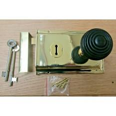 "6"" Rim Lock Brass & Beehive Ebony + Brass Set"