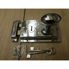 "6"" Rim Lock Chrome & Oval Rim Polished Chrome Set"