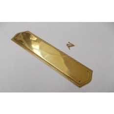 Georgian Pain Ger Door Plate Polished Brass