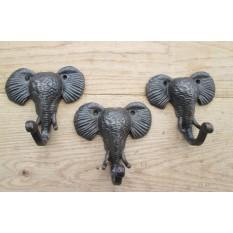 3 x Elephant Head Hooks