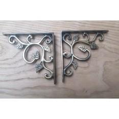Solid Brass ornate decorative vintage design wall mounted shelf support brackets- Antique burnished brass- leaf pattern