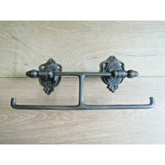 Double Acorn Toilet Roll Holder Antique Iron