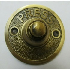 Press Embossed Round Bell Push Antique Brass
