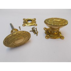 Mortice Door knob Brass Art Nouveau on square base