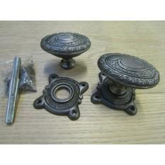 Art Nouveau Rim Knob Antique Iron