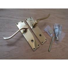 Bathroom Lever Door Handle Scroll Polished Brass