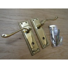 Bathroom Lever Door Handle Georgian Polished Brass