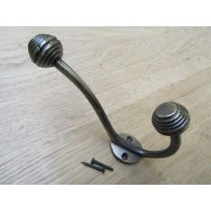 Beehive Ball Tip Coat Hook Antique Brass