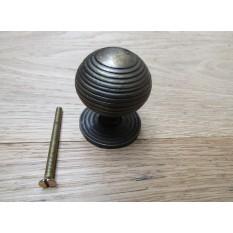 Cast iron beehive cabinet knob antique brass
