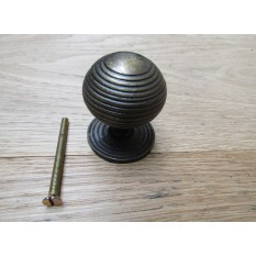 Cast Iron Reeded Cabinet Knob Antique Brass