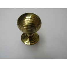 Beehive Reeded Cabinet Knob Polished Brass