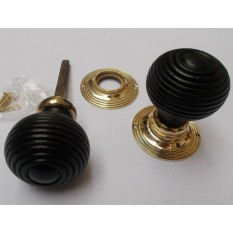 Rim door knob set Beehive Wooden Ebony and Brass