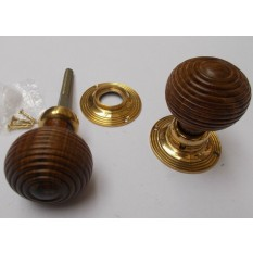 Rim door knob set Beehive Wooden Teak and Brass