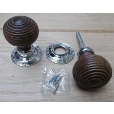 Rim door knob set Beehive Wooden Teak and Chrome