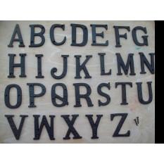 black antique door letters