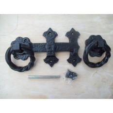 BLACK ANTIQUE CAST IRON FANCY TWISTED GARDEN GATE DOOR RING LATCH HANDLES SET