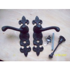 Black Antique Fleur de Lys Bathroom Handles