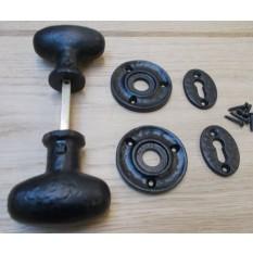 Rim door knob set Oval Black Antique