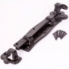 """6"""" Scroll Straight Door Bolt Black Antique"""