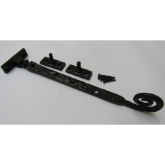 """Black Antique Curly Casement Stay Arm 12"""""""