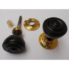 Mortice Door knob Black + Brass Bun Rimmed