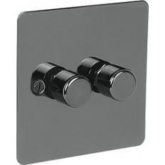 Black Nickel Switch Plate 250w 2 Gang 2 Way