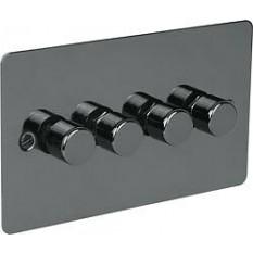Black Nickel Switch Plate 250w 4 Gang 2 Way