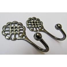 Pair of Diamante Lattice Curtain Hooks Black Nickel