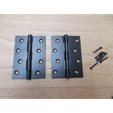Pair of Black Steel Butt Hinges 4""