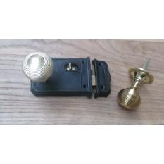 Large Rim Latch Black Antique & Beehive Rim Brass Set