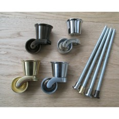 Bolt fix Cup Castor wheel Polished Brass
