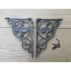 PAIR OF FLEUR DE LYS antique Vintage victorian style cast iron shelf brackets