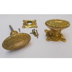 Rim door knob set Oval Art Nouveau Brass