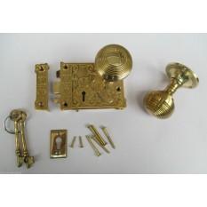 Ornate East Lake Lock & Beehive Brass Set