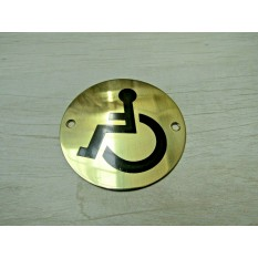 Circle Brass Disabled Door Sign