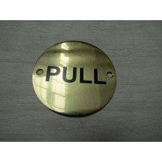 Circle Brass Pull Door Sign